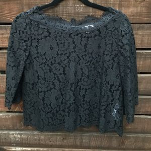 Joie Black Lace Blouse w 3/4 sleeves